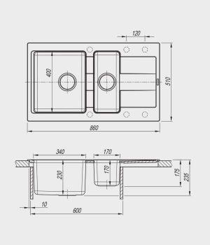 Мойка Флорентина Комби 860К схема чертеж