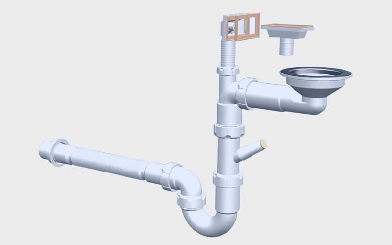 """отводная арматура с выпуском 3 ½ """" (D=90 мм) и переливом"""