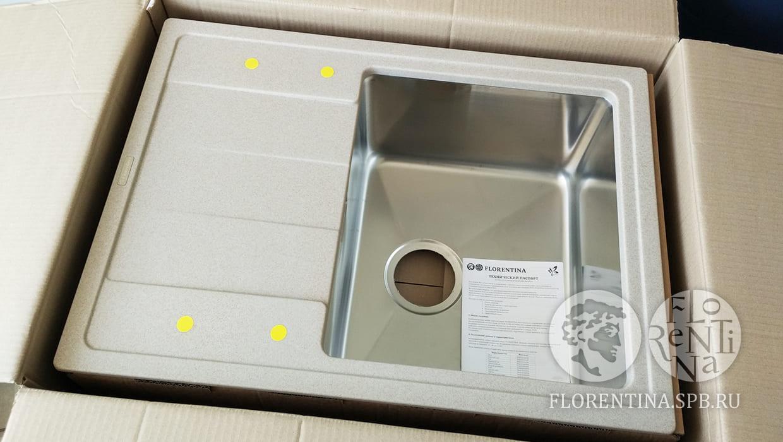 Мойка Флорентина Комби 650 песочный FG 21.390.B0650.107